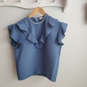 SOLD 🤍Sandro blue textured top with pearl detail M